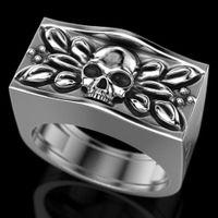 6Pcs de Moda de Nova crânio cabeça Anéis europeus e estilo punk americano do crânio Retro anel homens / mulheres acessórios da festa de aniversário do G-96