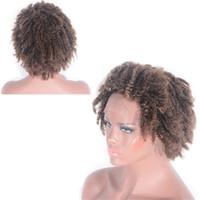 Cambogiana Pizzo anteriore umano parrucche dei capelli 4 # Afro crespo dei capelli ricci Glueless del merletto di Black Women 12 pollici
