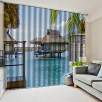 Customized size Luxury Blackout 3D Window Curtains For Living Room Balcony seaside curtains