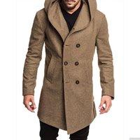 Mens Wollmantel Männer mit Kapuze Mantel Mode Business Casual Slim Fit Behaart Penis Long Jacket Large Size S-3XL