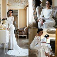 Nuevos vestidos de novia de sirena modestos Encaje Apliques Berta Sweep Train Vestido de novia de Boho Vestidos de novia Mangas de talla extra abiti da sposa