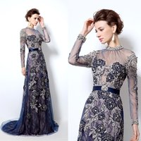 2019 Navy Blue Sparkly Jewel Long Sleeves Lace Evening Dress...