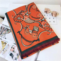 Scarf For women horse car Pattern Cashmere Designer Thick Sc...