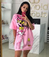 Bordare il vestito da T shirt Diamonds Animal vestito le donne Pink Panther T Shirt Dress O manica corta sciolto Z342
