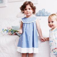 New Arrivals Retail Baby Girls Dresses Dot Blue Clothing Kid...