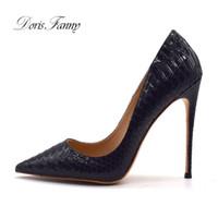 Kleidschuhe doris fanny große größe frauen schwarze pumpen schlange design damen stiletto high heels 12 cm