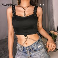 Sweetown Black Punk Gothic Adjustable Straps Tank Top Street...