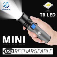 USB аккумуляторный светодиодный фонарик с встроенным светодиодом T6 встроенный 1200 мАч литиевая батарея Водонепроницаемая лагерем.