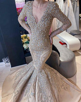 2020 Arabe ASO EBI EBI Luxueux Dentelle Robes de soirée Perles Sirène Manches longues Robes de bal Champagne Formel Party Second Robes de réception