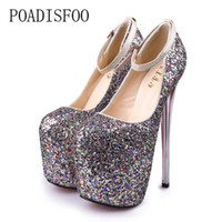 Women's Pumps Poadisfoo Super High-heeled With 20cm Hate High Shoes Womens Snake Gold And Silver Sexy Nightclubs Plus Size Shoes Mjl-6678-8 Women's Shoes