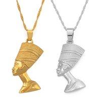 Collares colgantes de la reina egipcia Nefertiti para las mujeres joyas de joyería de oro al por mayor al por mayor africano joyería gargantilla collar regalo