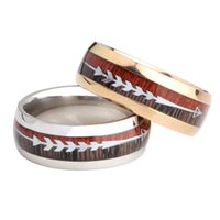 stainless steel wood grain arrow ring band gold rings for women men fashion jewelry will and sandy