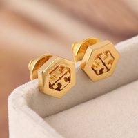 Hot vente creuse géométrie Hexagonal Boucle d'oreille dormeuses femmes bijoux cadeau de mariage Livraison gratuite PS5677