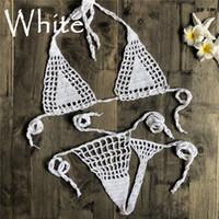 Crochet Hecho a mano Micro Bikini G Thong String Beach Micro Swimwear Sexy Lingerie Sets 2019 Venta caliente