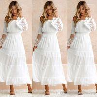 Spitzenkleid weg von der Schulter-Spitze Panelled Solid Color Lässige Famale Kleid-Frauen Entwerfer-Sommer