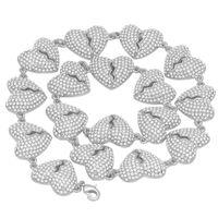 Mode-Hip Hop-Diamant Iced Out Chian Halskette Schmuck der Frauen der Männer Gold-Herz-Halskette Defektes