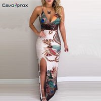Women Peacock Feather Printed Thigh Slit Slip Spaghetti Stra...