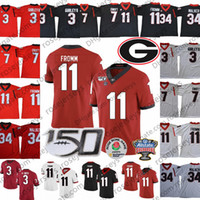 UGA Georgia Bulldogs 150. Trikots # 11 Jake Fromm 7 Dandre Swift 3 Todd Gurley II 34 Herschel Walker Black Red White Sugar Bowl