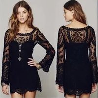 2019 Women Clothing Casual Femininos Crochet Floral Lace Embroidery Sheer Boho People Style Long Blouse Blusas Beach Cover Up
