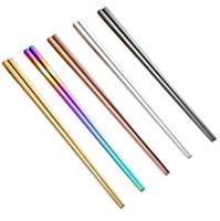 Glossy titanium banhado a ouro de alta qualidade pauzinhos, colorido de aço inoxidável pauzinhos, boa qualidade ouro rainbow quadrados chopstickssn1164