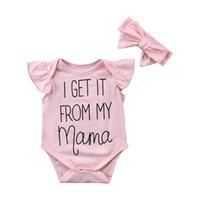 Bébés filles Romper Jumpsuits ébouriffées lettre maman dentelle barboteuses + rose bowknot Bandeau costumes de couvre-chefs d'été pour enfants Un vêtements pièces vente E3302