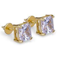 망 힙합 스터드 귀걸이 쥬얼리 고품질 패션 골드 실버 스퀘어 시뮬레이션 다이아몬드 귀걸이 6mm