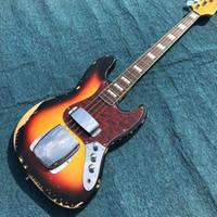 Heavy Relic Jazz Bass Guitarra eléctrica Sunburst Color Aliso Cuerpo 100% hecho a mano Acabado Nitrolacquer Hardware envejecido