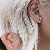 Girls Tiny Bar Stylish Stud Earrings Punk Upated Design Black Silver Gold Plated Cute Stud Earrings