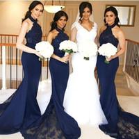 Meninas negras azul marinho sereia vestidos de baile longos elegantes vestidos formais de renda alta pescoço festa vestidos de baile sem encosto 2020