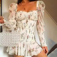 Pfflook Sexy Robe d'été Sexy Femme Plaquée Pince carré Ruffles Robe moulante Court Mini Vestidos 2019