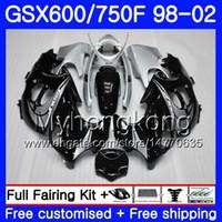 Körper für Suzuki Katana GSXF 600 750 GSXF750 98 99 00 01 02 292HM.0 GSX 750F 600F GSXF600 1998 1999 2000 2001 2002 Verkleidung heiß silbrig schwarz