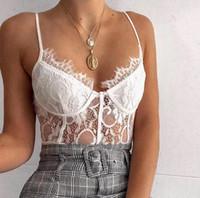 La correa de espagueti mamelucos sólido color del cordón profundo atractivo ocasional del cuello en V Body Kylie mujeres del estilo de diseñador mono de la manera