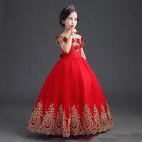 Hasta el suelo formal Vestido de niña de las flores Niña larga Princesa Brithday Apliques Vestido de fiesta Vestidos de niños