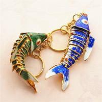 8.5 cm Lifelike Swing Koi Pesce Portachiavi Keyrings Chinese Cloisonne Carpa Charms Animale Smalto Carino Portachiavi per signore Uomini Regali con scatola