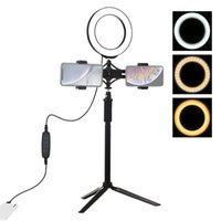PULUZ Stativbefestigung + Verlängerung Rod + Live-Übertragung Dual Phone Bracket + 6,2 Zoll 16cm LED Ring Vlogging Video-Licht-Kits
