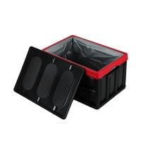 30L zusammenklappbare Kunststoffaufbewahrungsbox Durable Stapelbare Faltgut-Kisten mit Deckel Black Color Outdoor Snack Socks Organizer
