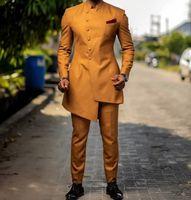 Populares de los padrinos de un solo pecho de solapa Mandarín (Jacket + Pants + Tie) trajes de novio de los smokinges de los padrinos de boda mejor juego del hombre para hombre del novio A288