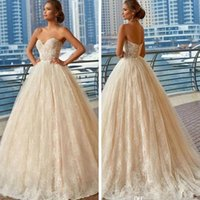 Vintage Champagne Full Lace A Line Wedding Dresses 2020 Chea...