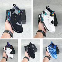sneaker infantile AJS 8 VIII Chaussures de basket-ball flocon 3peat Aqua chrome Little Kids enfants de filles de garçon raid de 8 enfants en bas âge Sneaker Chaussures