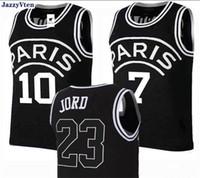 Bordado Polyster Jersey 23 Michael JD Jr 7 Mbappe 5 # Marquinhos 9 # Cavani Paris Basquete Jerseys Camisas Esportes Black Color