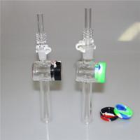 Novo Coletor de Néctar de Vidro de 7,5 polegadas com 10mm 14mm Quartz Dicas Keck Clipe 5ML Recipiente de Silicone Reclamador Nector Collector Kit para fumar