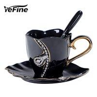 YEFINE Diamond Design кофейная кружка творческий подарок любителям чайных чашек 3D керамические кружки со стразами украшения чашки и блюдца T200327