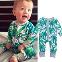 Primavera Otoño Bebé Niño recién nacido Chica Chica Mameluco con estampado de hojas verdes Ropa Algodón Trajes de manga larga con cremallera Mamelucos