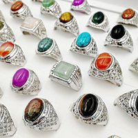Mode nyaste 30pieces / mycket naturliga ädelstenband ringar mix stil tall sten storlek 18cm-22mm passform kvinnors mäns fest smycken charm turkos gåvor