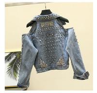 Omuz seksi moda kapalı yaka aşağı Yeni tasarım kadın dönüş patchwork kot kot kısa ceket ceket casacos perçinler