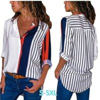 ae0d8864950 Nueva moda para mujer camisas casuales de manga larga para mujer Camisas de  rayas impresas tallas