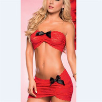 Moda Bayan Dantel Seksi / Sissy Babydoll ilmek İç Bayanlar İç Mini etek Yeni noel lingerie set