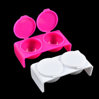 Akryl Dubbel Dappen Rätter Flytande pulver Nail Dishes Container Nail Art Manicure Brush Pen Tool Pulver DIY Nail Tech Rosa / Withe Na015