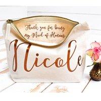 Presentförpackning Personligt bröllop Tack kosmetiska påsar Bridesmaid Make up Väska Unik för Bridal Party, Makeup