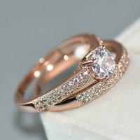 Lusso femminile bianco da sposa Ring Set d'argento dei monili Riempito Promessa CZ pietra Anelli di fidanzamento per le donne